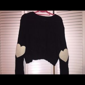Black cropped sweater with Heart elbow patch!
