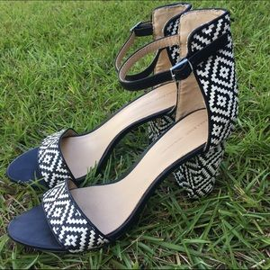 ZARA stacked heel black and white shoes