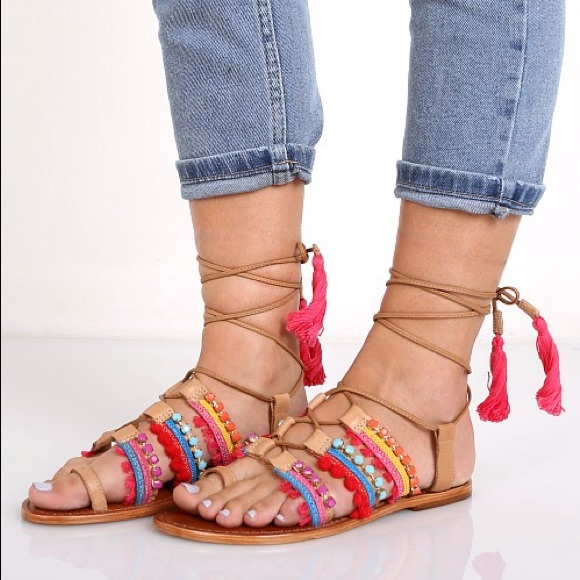 0ffbc7d49fa tan multi color pom pom tribal tassel lace up sandals cozy fresh ...