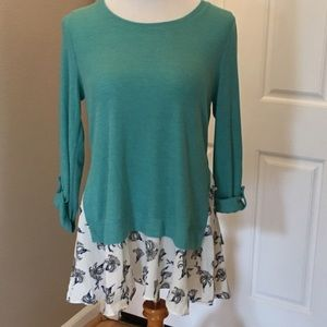 Teal Tunic W/Floral Detail