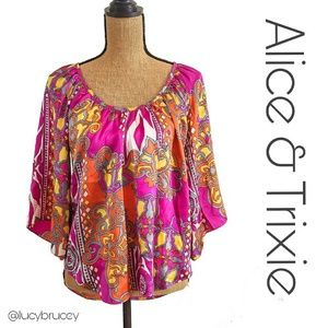Alice & Trixie Tops - Alice & Trixie 100% Silk Butterfly Top XS