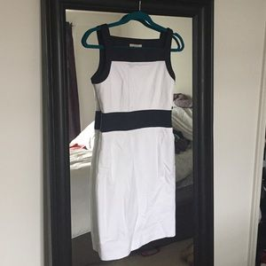 Banana Republic White and Navy Dress