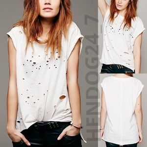FREE PEOPLE SHREDDED DESTROYED MUSCLE TEE - IVORY