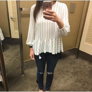 NEW Nordstrom BP Stripe Peplum Blouse