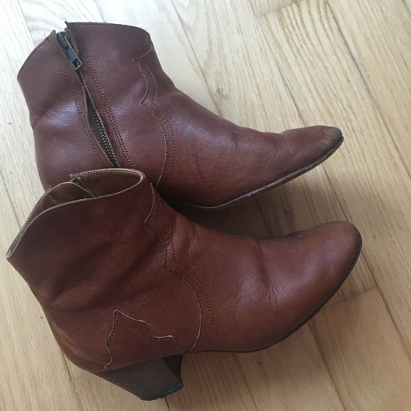 Isabel Marant Shoes - Isabel Marant Dicker Leather Ankle Boots Cognac 37