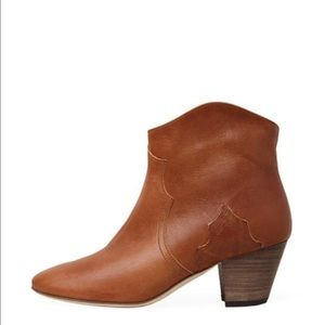Isabel Marant Dicker Leather Ankle Boots Cognac 37