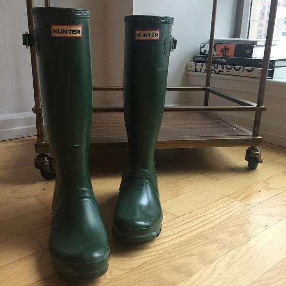Hunter Boots Shoes - Hunter Boots Original Tall Rain Boots, Green, 7