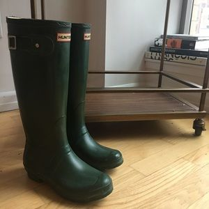 Hunter Shoes - Hunter Boots Original Tall Rain Boots, Green, 7