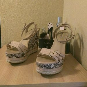 Cream Beige Wedges Size 7.5