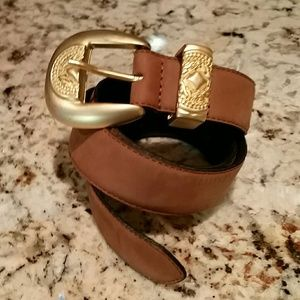 Louis Feraud Accessories - Louis Feraud light brown leather belt, gold buckle
