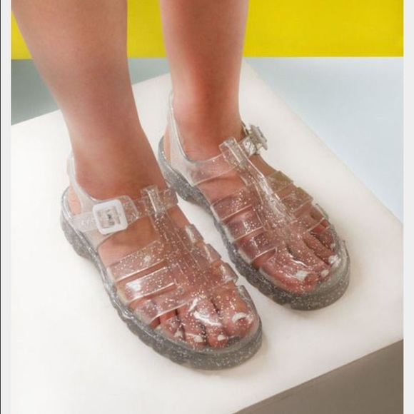 118886877b07 American Apparel Shoes - Clear Glitter JuJu Jelly Shoes