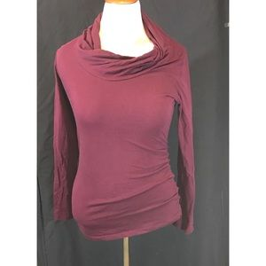 Cabi blouse ruched on one side semi cowl neck