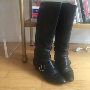 Loeffler Randall Low Wedge Knee High Boots 7