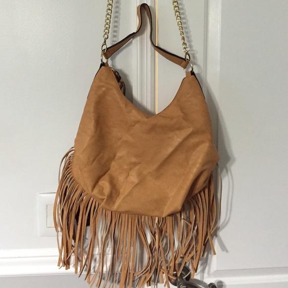 Tan Faux Leather Fringe Shoulder Bag