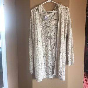 Heritage Sweaters - Creme colored hooded cardigan