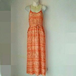 bobeau Dresses & Skirts - Bobeau Orange snd White Maxi Dress