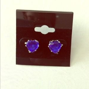 Blue crystal heart stud earrings-NWT!