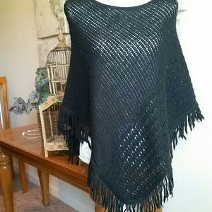 Anchor Blue Sweaters - Black knit poncho