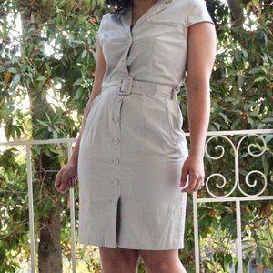 H&M Dresses & Skirts - H&M Grey Belted Button Shirt Dress
