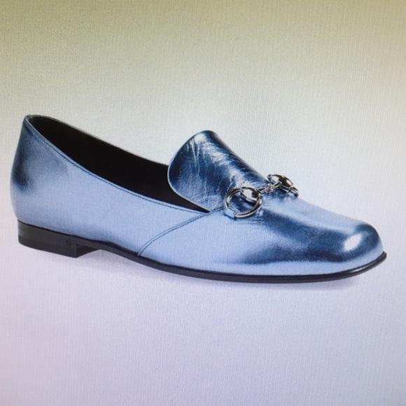 a4e751305f5 Gucci Shoes - Gucci  Lillian  Horsebit Loafer Metallic Blue 38.5