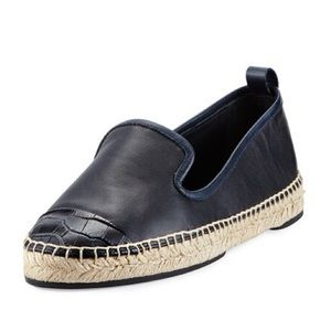 NWT FENDI Blue Leather Croc  Cap-toe Espadrille