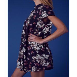 Dresses - Floral Print Mock Neck Back Cut Out Dress