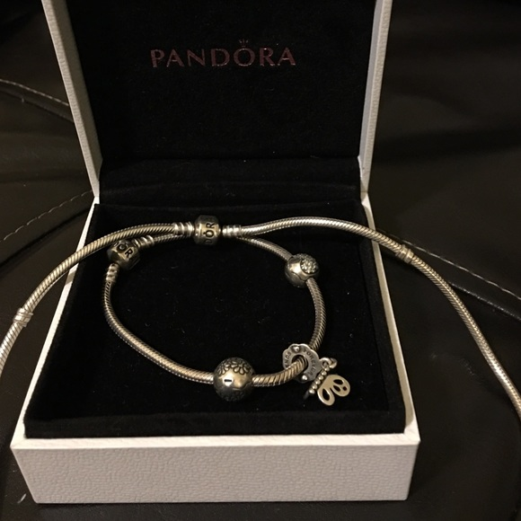Authentic Sterling Pandora necklace,bracelet set.