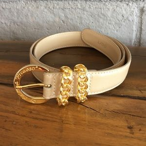 Paloma Picasso Leather Cream Belt Gold Buckle