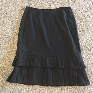 Black pencil skirt with bottom ruffle
