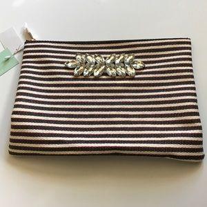 Handbags - BNWT striped clutch w/ rhinestones