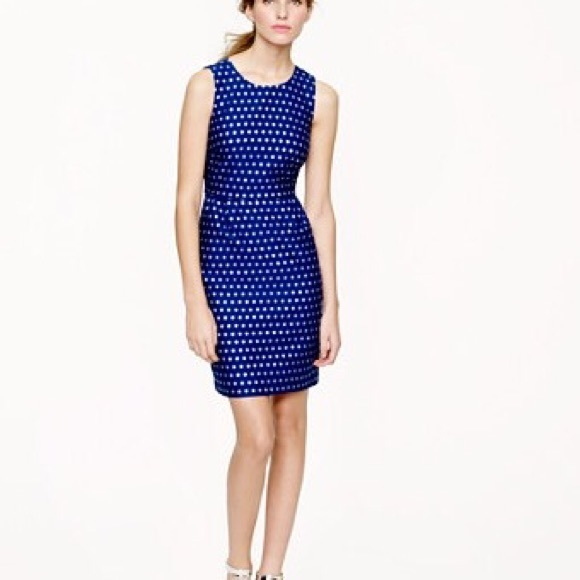 61f2d324ab6 J. Crew Silver Navy Polka Dot Dress 0