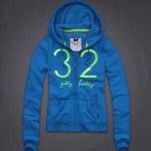 New Gilly Hicks Zip up Sweatshirt Hoodie Blue