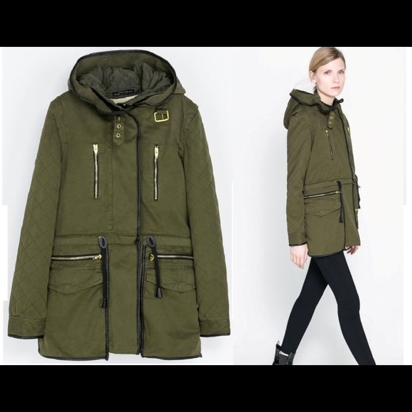 Zara parka with detachable quilted lining