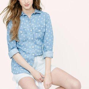 LOFT Tops - LOFT Floral Chambray Shirt