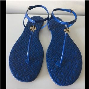 TORY BURCH MARION QUILTED BLUE LEATHER LOGO SANDAL