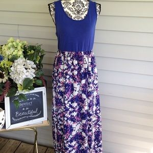 Fire Los Angeles Dresses & Skirts - Blue & Pink XL Love Fire Sleeveless Maxi Dress