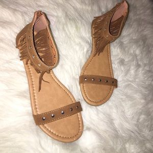 New In Box Tan Suede Fringe Sandals