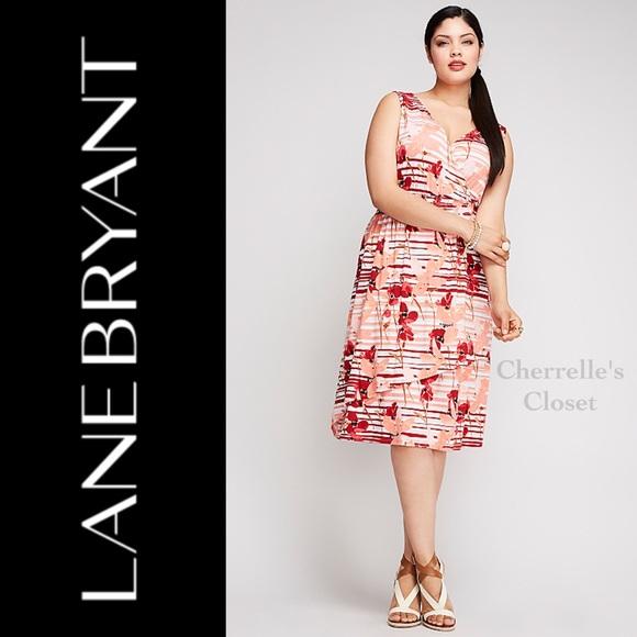 Lane Bryant SURPLICE SMOCK WAIST DRESS Plus Size NWT