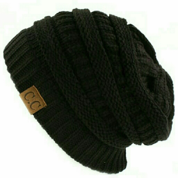 32538b5e6f5 NWT CC Ribbed slouch beanie knit hat Black