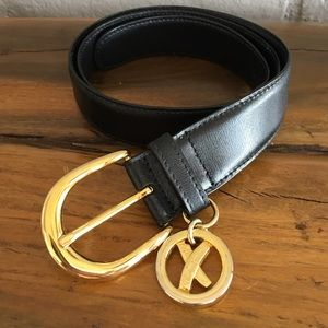 Paloma Picasso Black Leather Belt Gold Buckle