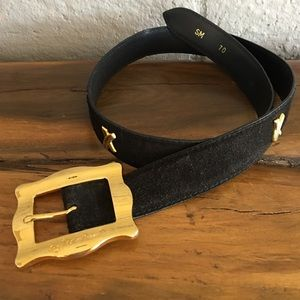 Paloma Picasso Suede Black Belt Gold Buckle