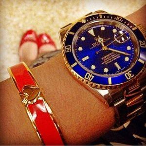 Red and Gold KATE SPADE Hinge Bangle Bracelet