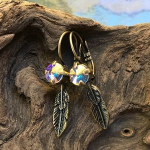 Jewelry - Feather earrings with Swarovski crystals #67