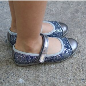 Clarks Other - Clarks Gliterry Silver Mary Janes