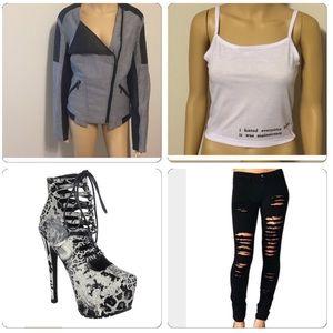 Yoki Jackets & Blazers - Gray & Black Moto jacket-NWOT