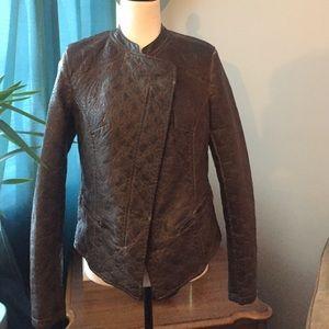 Vintage pattern faux leather jacket.