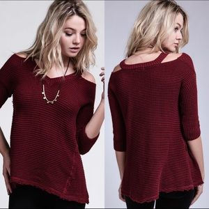 NWT Cold shoulder waffle knit top