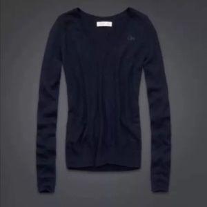New Gilly Hicks Knit V neck Navy Blue Sweater