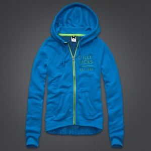 New Gilly Hicks Crochet Back Zip Up Hoodie Blue