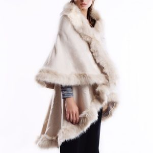 Faux Fur Trim Poncho Wrap